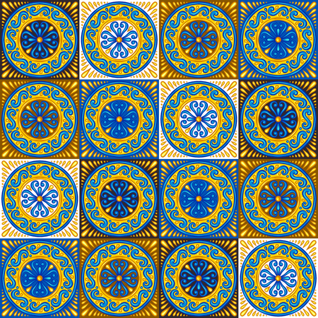 Illustration pour Moroccan ceramic tile seamless pattern. Ethnic floral motifs. Mediterranean traditional folk ornament. Portuguese azulejo, mexican talavera or spanish majolica. - image libre de droit