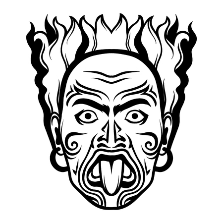 Illustration pour Maori traditional mask. Tattoo on face of aborigine. Native man. - image libre de droit