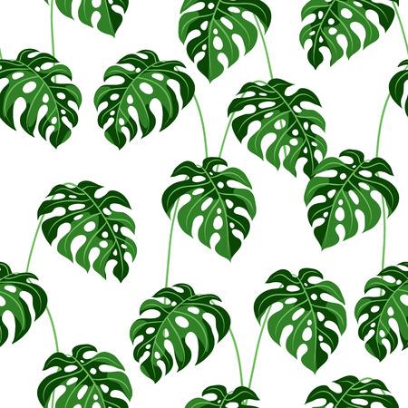 Illustration pour Seamless pattern with monstera leaves. Tropical jungle plants. Woody natural rainforest. - image libre de droit