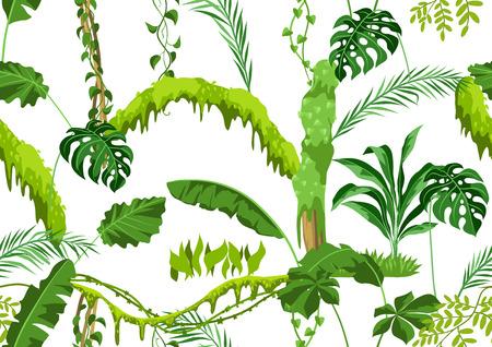 Illustration pour Seamless pattern with jungle plants. Tropical leaves. Woody natural rainforest. - image libre de droit