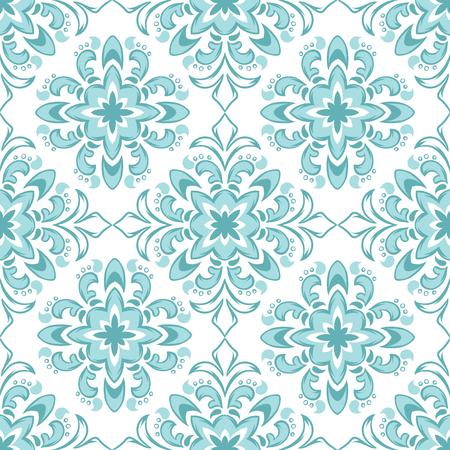 Illustration pour Portuguese azulejo ceramic tile pattern. Ethnic folk ornament. Mediterranean traditional ornament. Italian pottery, mexican talavera or spanish majolica. - image libre de droit