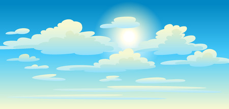 Illustration pour Illustration of clouds in sky. Card or background with heaven and sunny day. - image libre de droit