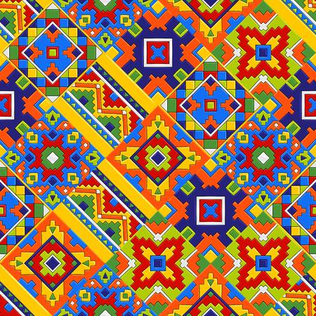 Illustration pour Mexican talavera ceramic tile pattern. Ethnic folk ornament. - image libre de droit