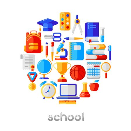 Illustration for School background with education icons and symbols. Illustration in trendy flat style. - Royalty Free Image