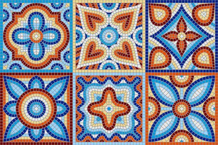 Ilustración de Ancient mosaic ceramic tile pattern. Colorful tessellation ornament. Floral decorative texture. - Imagen libre de derechos