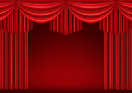 Illustration for Red curtains of theater stage. Template for theatrical performance, movie house or presentation. Detailed mesh illustration. - Royalty Free Image