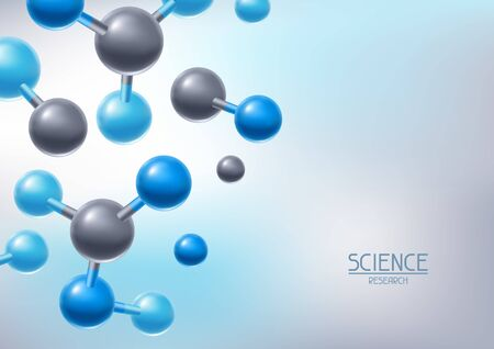 Illustrazione per Background with abstract molecules or atoms. Science or medical molecular structure. - Immagini Royalty Free