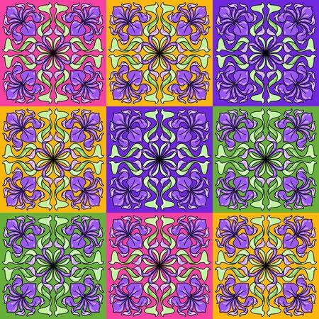 Illustration pour Art Nouveau ceramic tile pattern. Floral motifs in retro style. Vintage pottery with flowers and leaves. - image libre de droit