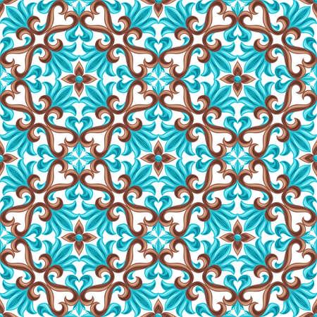 Illustration for Italian ceramic tile seamless pattern. Mediterranean porcelain pottery. Ethnic folk ornament. Mexican talavera, portuguese azulejo or spanish majolica. - Royalty Free Image