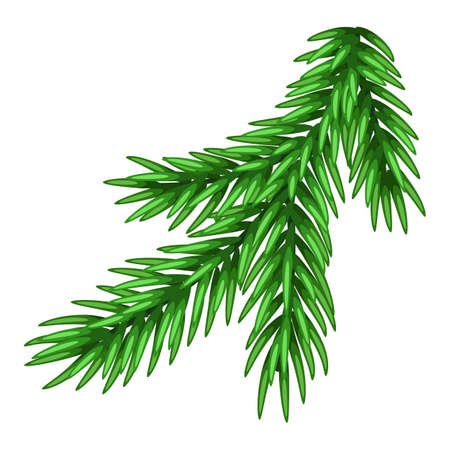 Illustration pour Illustration of spruce branch. Merry Christmas or Happy New Year decoration. - image libre de droit