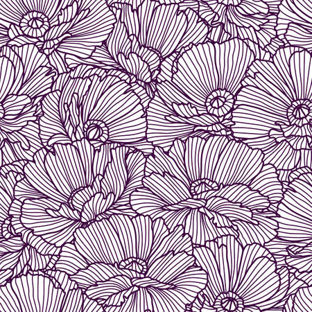 Illustration pour Seamless pattern with poppies. Beautiful decorative stylized summer flowers. - image libre de droit