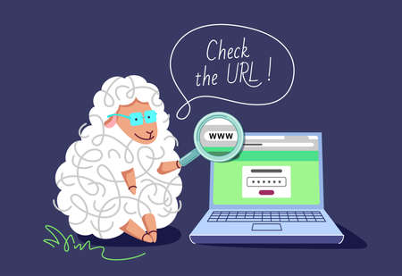 Illustration pour Pharming and phishing concept. The clever sheep with a laptop and magnifying glass, teaching to check the URL, not to be redirected to the fake web site. - image libre de droit