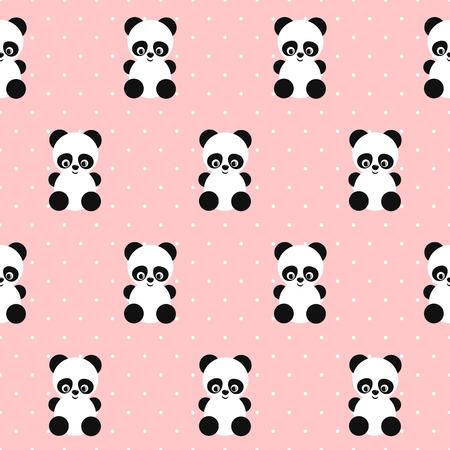 Panda Seamless Pattern On Polka Dots Pink Background Cute Design