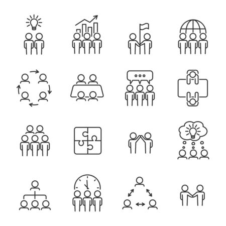 Illustration for Simple teamwork line icon set. Business team concept. Management, meeting, planning, collaboration icons. Editable stroke. Vector illustration. - Royalty Free Image