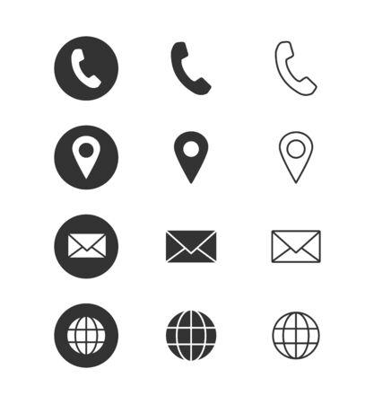Vektor für Contact info - icon set. Isolated on white background. Vector illustration. - Lizenzfreies Bild