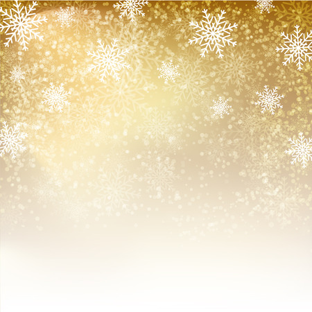 Gold background with  snowflakes. Vector illustration for  posters, icons, greeting cards, print and web projects.