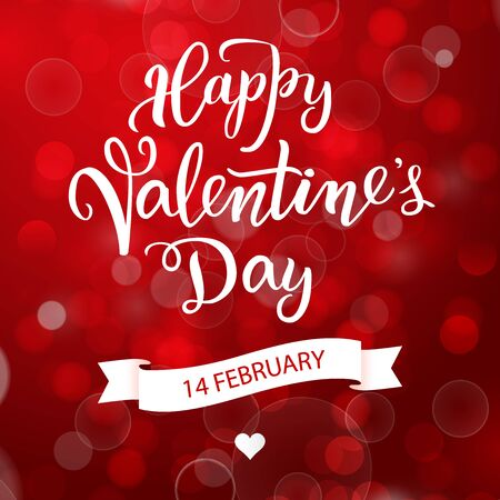 Illustration for Original handwritten lettering Happy Valentine's day on a red background with flares. Vector illustration for posters, greeting cards, banners, print and web projects. - Royalty Free Image