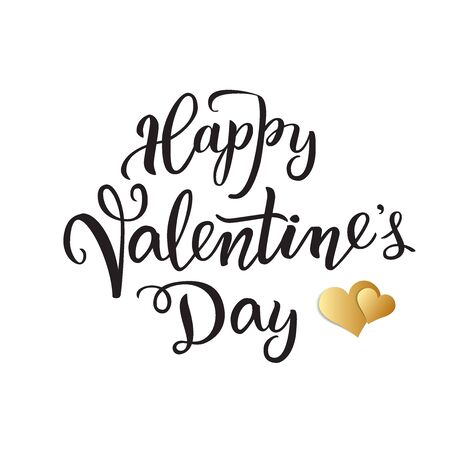 Illustration for Original handwritten lettering Happy Valentine's day Party and two golden hearts. Isolated on a white background. Vector illustration for posters, greeting cards, banners, print and web projects. - Royalty Free Image