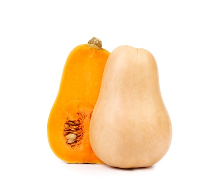 Butternut pumpkin and slice on a white background.