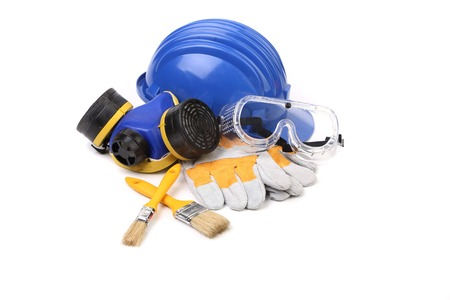 Blue safety helmet with respirator and goggles. Isolated on white background.