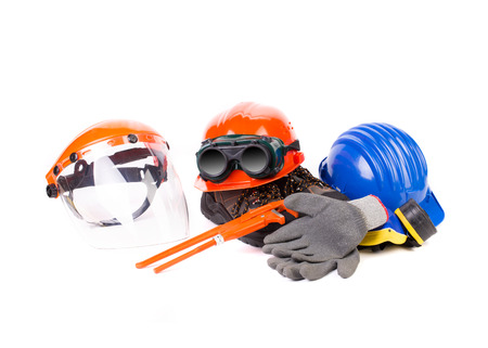 Various working equipment close up. Isolated on a white background.