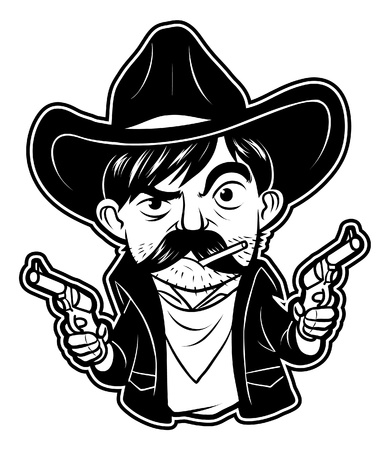 Black And White Clipart Cowboy Royalty Free Vector Graphics