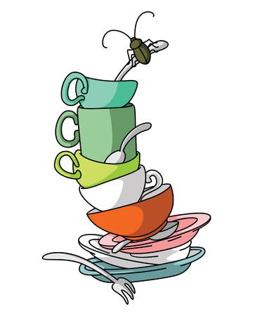 Illustration pour Dirty Dishes - image libre de droit