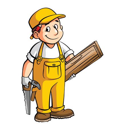 Illustration for Carpenter Cartoon Illustration - Royalty Free Image