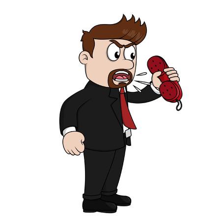 Illustration pour Angry at phone - image libre de droit