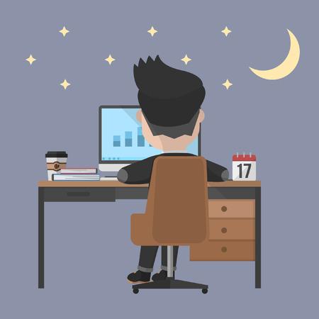Illustration pour Business man work overtime - image libre de droit