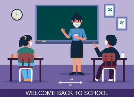Illustration pour Social distancing in schools for the students - image libre de droit