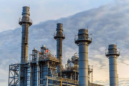 Photo for Natural gas combine electric power plant in the morning - Royalty Free Image