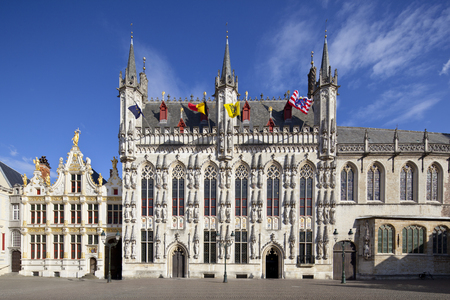 The old town hall of Bruges with blue sky.