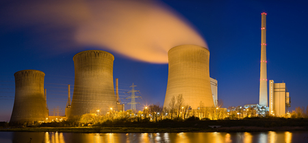 Photo for Panoramic high res shot of a coal power plant. - Royalty Free Image