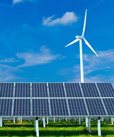 Photo pour renewable energy generation - wind turbines and solar plants  - image libre de droit