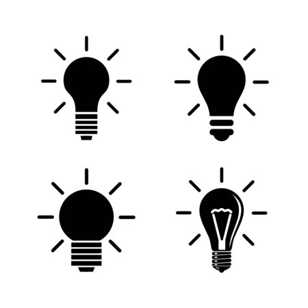 Illustration pour Light Bulb line icon vector, isolated on white background. Idea sign, solution, thinking concept - image libre de droit