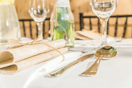 Photo pour Beautiful table set for some festive event, party or wedding reception. Design, formal. Closeup - image libre de droit