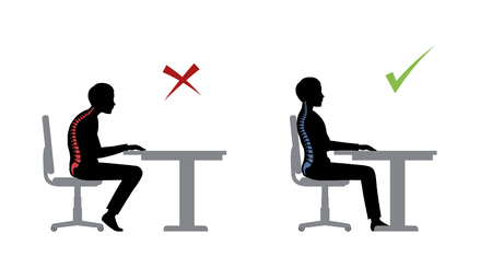 Illustrazione per ergonomic. Wrong and correct sitting pose of a man near the table - Immagini Royalty Free