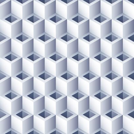 Illustration pour Geometric abstract background with holes. 3D Cubes pattern. Volume hexagon seamless texture. Optical illusion pattern. - image libre de droit