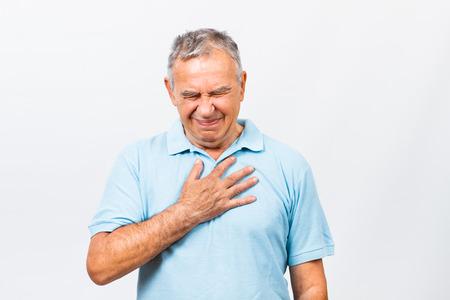 Senior man is having pain in chest.