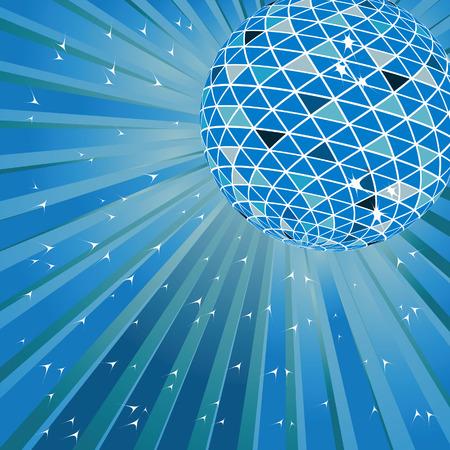 Blue disco ball. Vector illustration