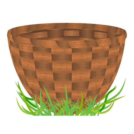 Empty basket standing on a green grass. Vector illustration