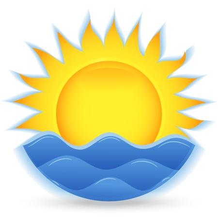Ilustración de The sun and the sea. An icon for the project. Vector illustration - Imagen libre de derechos