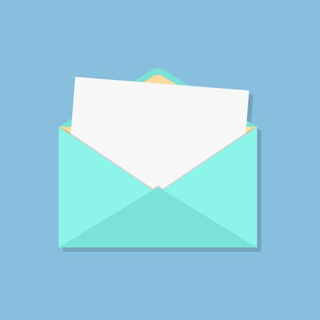 open envelope with white sheet. isolated on blue background. flat style design modern vector illustration