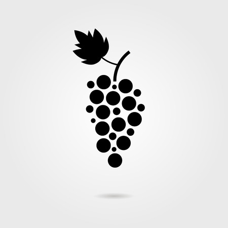 black grapes icon with shadow. isolated on stylish background. logo design modern vector illustration