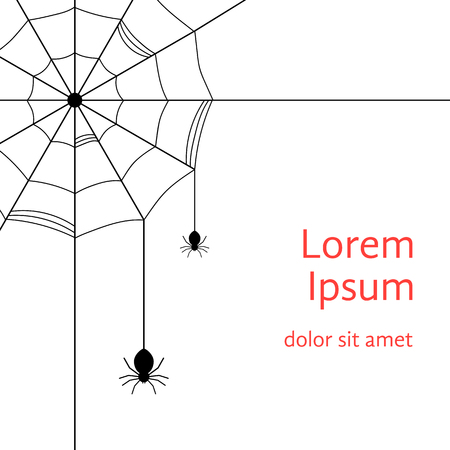 black cobweb with spiders. concept of arachnophobia, arachnology, all hallows eve, gothic decoration postcards. isolated on white background. flat style trendy modern design vector illustration