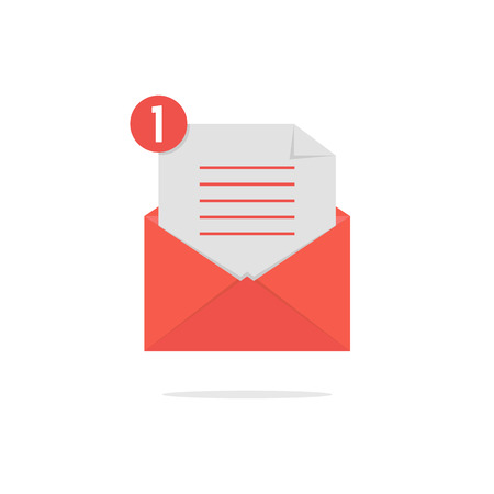 red open envelope with check list and shadow. concept of newsletter, notify, support, incoming, confirm. isolated on white background. flat style trend modern logo design vector illustration