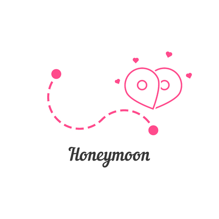 honeymoon with route and map pin