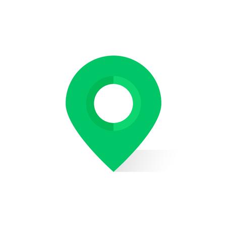 Illustration pour simple green map pin with shadow - image libre de droit