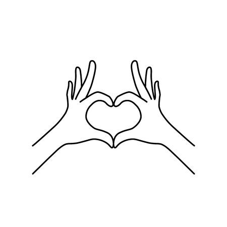 Photo pour thin line heart hand gesture black icon - image libre de droit